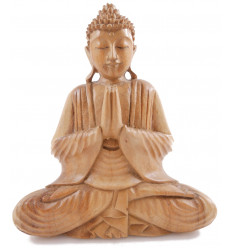 Bouddha assis - bois massif sculpté main h20cm - Mûdra Atmanjali , mains jointes vers le ciel