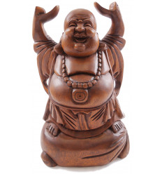 """Statue Bouddha chinois rieur H30cm. """"Happy Buddha"""" en bois exotique sculpté main."""
