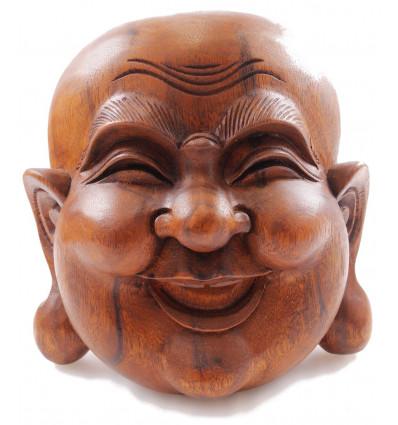 Maschera del Buddha cinese in legno intagliato H20cm