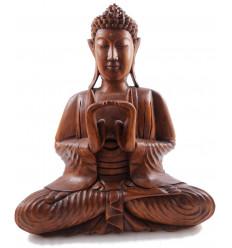 Sculpture statue Bouddha Shakyamuni zen en bois. Statue Bouddha Bali.