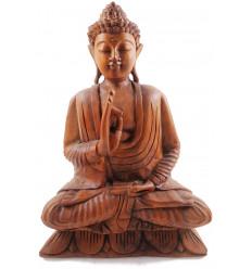 Sculpture Bouddha assis de Bali. Statue faite à la main en bois.