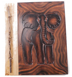 Album di foto di Elefante in legno naturale, 40 punti di vista. Fatti a mano.