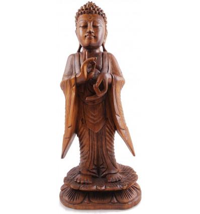 Statue bouddha zen debout bois massif décoration Zen pas cher