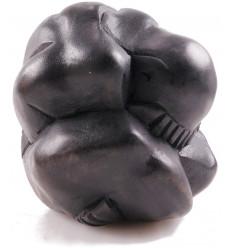 Statua Yogi liberatore, il buddha pianto, in legno massello di colore nero.