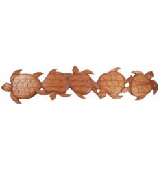 Décor mural tortues en bois, frise fabriqué artisanalement à Bali.
