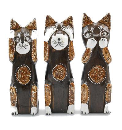 Decorazione gatto. Statuette gatti della casa della saggezza del mondo.