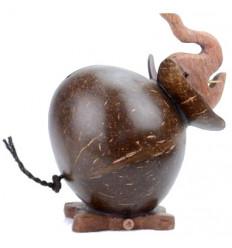 Tirelire éléphant en noix de coco