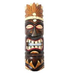Masque Tiki h50cm en bois motif Plumes. Déco tribale polynésienne.