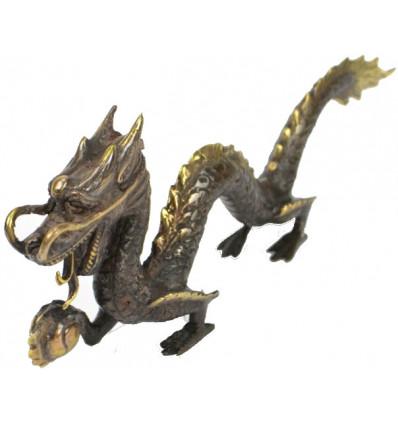 Statuette Dragon d'Asie en bronze massif.