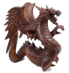 Statuette Dragon h20cm en bois massif sculpté main