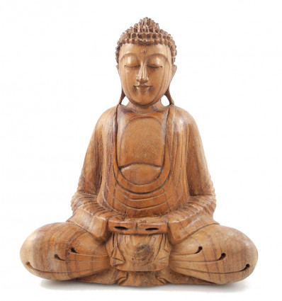 Buddha Statue sitting in a lotus position h30cm carved Wood hand