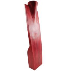 Présentoir spécial colliers longs H60cm buste en bois exotique rouge