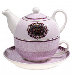 Tea set - Teapot and cup. Purple Mandala Pattern.