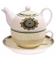 Ensemble pour le thé - Théière et tasse. Motif Mandala vert.