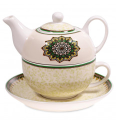 Tea set - Porcelain teapot and cup. Green mandala.