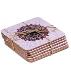 Purple Mandala pattern coasters. Set of 6 saucers.