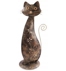Candle holder cat wrought-iron gilt. Ethnic decoration chic.