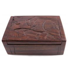 Confezione regalo in legno portagioie gioielli scultura elefante. Artigianato.