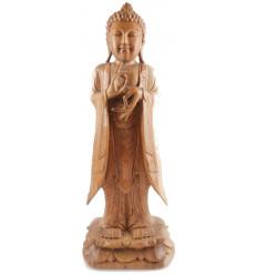 Grande statue de Bouddha debout h60cm bois massif brut sculpté main