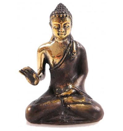 Statuette Bouddha zen en bronze Abhaya Mudra. Déco import Asie.