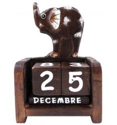 Perpetual calendar elephant. Decorating kids bedroom in wood.