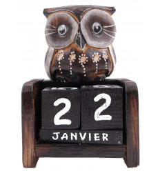 Calendrier perpétuel - Petite statuette Chouette en bois