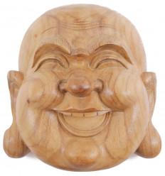 Masque du Bouddha rieur en bois exotique brut H20cm