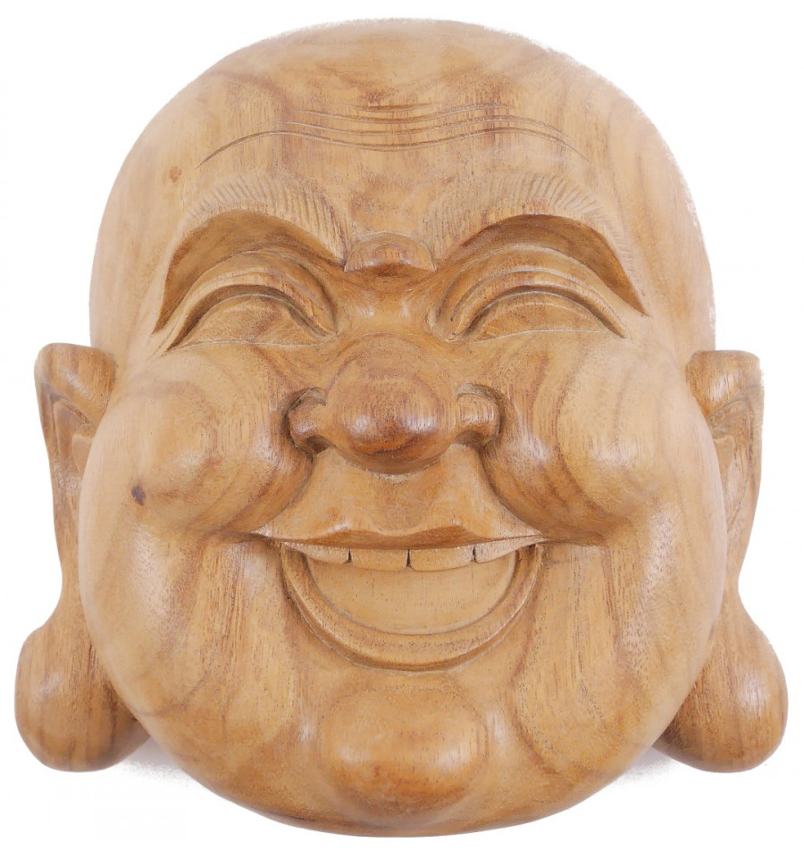 Elephant Ganesha Mask Head Carved Wood Wall Sculpture Balinese Art Whitewash
