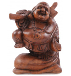 Buddha Statue chinese traveller H20cm exotic wood carved