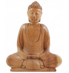 Statuette Buddha of meditation in solid wood carved hand h20cm