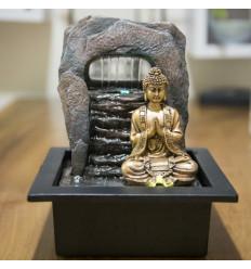 Fontaine d'intérieur Bouddha doré Zen Dao. Eclairage led.