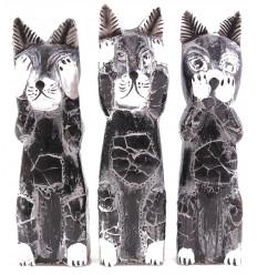"""Il 3 gatti """"segreto della felicità"""". Lotto di 3 Statuette in legno."""
