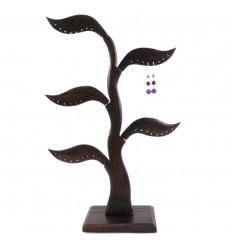 Tree earrings - solid wood tint brown