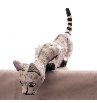 Statue Zebra to the edge of the shelf L25cm. Deco hand crafted wood.