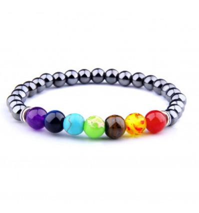 Bracelet 7 chakras en Hématite. Bijou Yoga / Méditation
