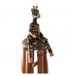 Carillon à vent de jardin / extérieur. Bambou et statuette Girafe.