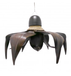 Chandelier exotic in leaves of coconut tree, mahogany and seagrass.