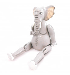 Marionette puppet jointed wooden Elephant. Handcrafted.