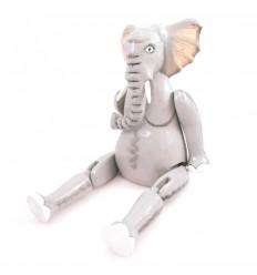 Pantin marionnette articulée Éléphant en bois. Fabrication artisanale.
