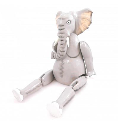 Marionetta burattino snodabile in legno Elefante. Fatti a mano.