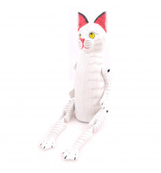 Marionette puppet articulated white Cat in the woods. Deco child hand made