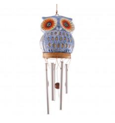 Carillon à vent artisanal. Sattuette hibou bois sculptés main pas cher