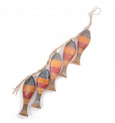 Guirlande décorative poissons bois coloré aspect vieilli, petit prix.