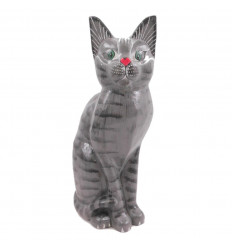 Statue grey cat, full-size, 35cm. Manufactured and hand-painted. Cheap