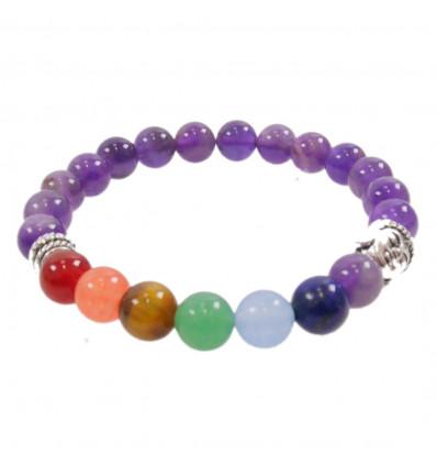 Bracelet 7 chakra Amethyst and 7-precious stones.