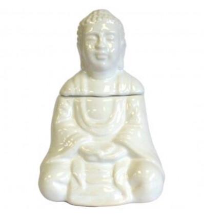Brule-parfum diffusore olio forma di Buddha in ceramica bianca.