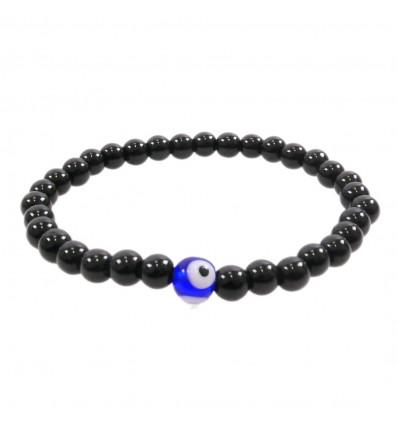 Bracelet Porte Bonheur en Onyx naturel - Oeil turc