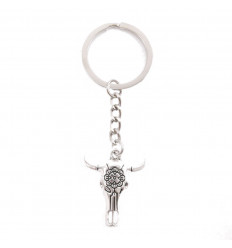 Key ring metal Skull of buffalo