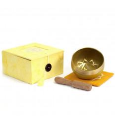 Bol chantant tibétain - Coffret cadeau jaune - Chakra Plexus Solaire