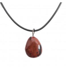 Collier Obsidienne acajou naturelle Extra, pendentif pierres roulées.